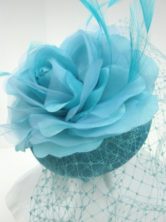 Tiffany Blue Birdcage Veil Pill Box Hat Fascinator
